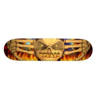 Richard skull real fire and flames skateboard desi