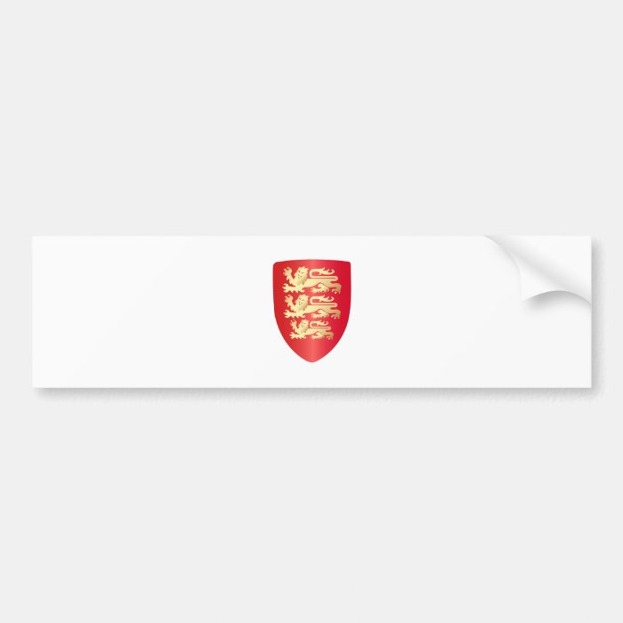 Richard the Lion Heart Shield in red+faux gold Bumper Sticker