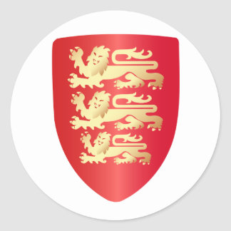 Richard the Lion Heart Shield in red+faux gold Classic Round Sticker