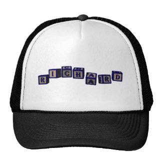 Richard toy blocks in blue trucker hat
