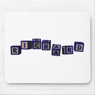 Richard toy blocks in blue mouse pad