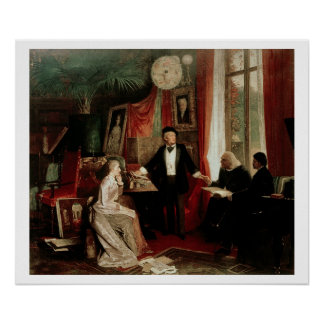 Richard Wagner with Franz Liszt and Liszt's daught Poster