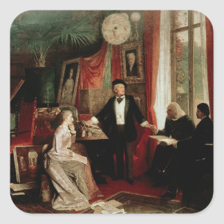 Richard Wagner with Franz Liszt and Liszt's daught Square Sticker