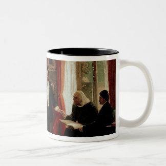 Richard Wagner with Franz Liszt and Liszt's daught Two-Tone Coffee Mug