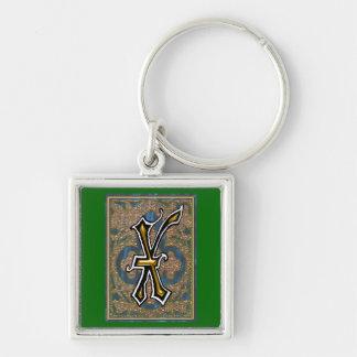 "richard ""X"" monogram Silver-Colored Square Keychain"