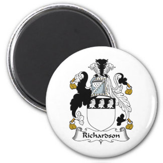 Richardson Family Crest 2 Inch Round Magnet