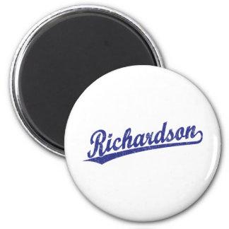 Richardson script logo in blue 2 inch round magnet
