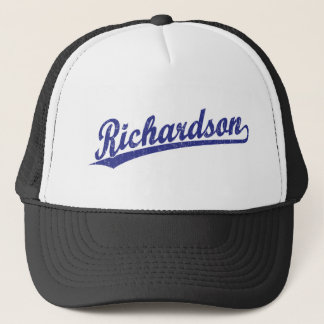 Richardson script logo in blue trucker hat