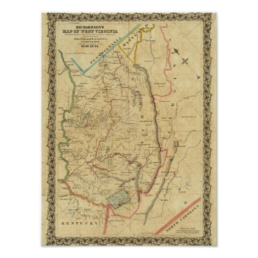 Richardson's Map of West Virginia Poster