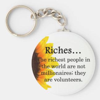 Riches from Volunteering Basic Round Button Keychain