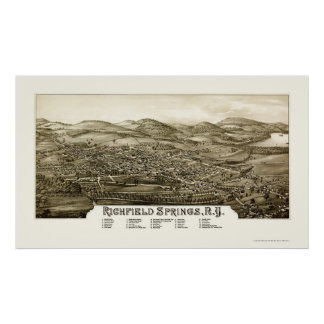 Richfield Springs, NY Panoramic Map - 1886 Poster