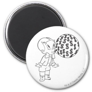 Richie Rich Blowing Bubble - B&W 2 Inch Round Magnet