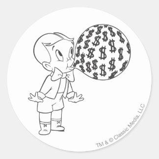 Richie Rich Blowing Bubble - B&W Classic Round Sticker