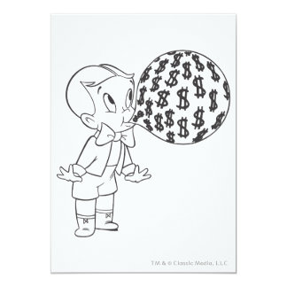 Richie Rich Blowing Bubble - B&W Personalized Invites