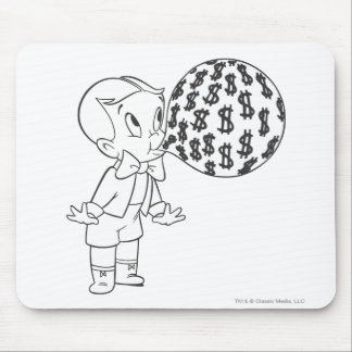 Richie Rich Blowing Bubble - B&W Mouse Pad