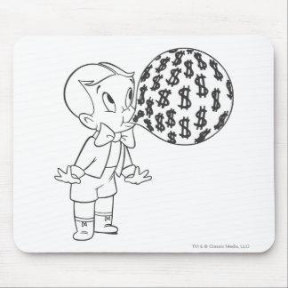 Richie Rich Blowing Bubble - B&W Mouse Pad