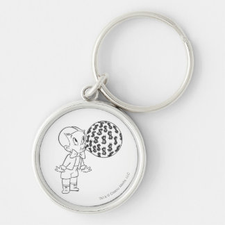 Richie Rich Blowing Bubble - B&W Silver-Colored Round Keychain