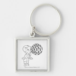 Richie Rich Blowing Bubble - B&W Silver-Colored Square Keychain