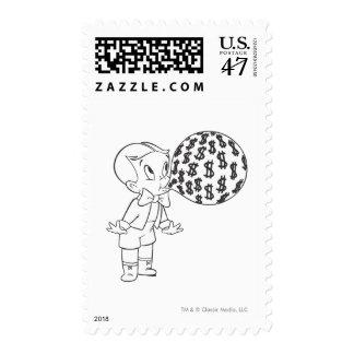 Richie Rich Blowing Bubble - B&W Stamp