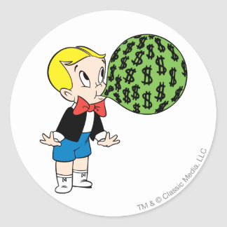 Richie Rich Blowing Bubble - Color Classic Round Sticker