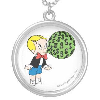 Richie Rich Blowing Bubble - Color Round Pendant Necklace