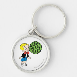 Richie Rich Blowing Bubble - Color Silver-Colored Round Keychain