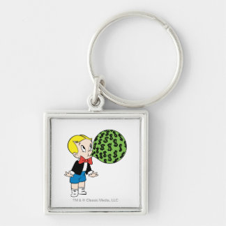 Richie Rich Blowing Bubble - Color Silver-Colored Square Keychain