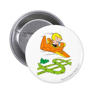 Richie Rich Flying Plane - Color Pinback Button