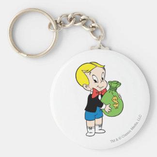 Richie Rich Money Bag - Color Basic Round Button Keychain