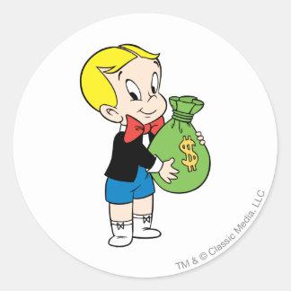 Richie Rich Money Bag - Color Classic Round Sticker