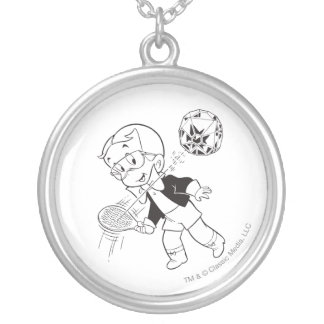 Richie Rich Paddle Ball - B&W Silver Plated Necklace