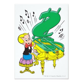 Richie Rich Playing Piano - Color Personalized Invites