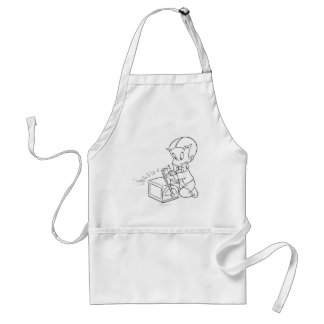 Richie Rich Playing with Toy - B&W Adult Apron
