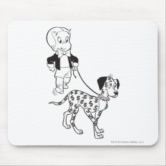 Richie Rich Walks Dollar the Dog - B&W Mouse Pad