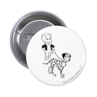 Richie Rich Walks Dollar the Dog - B&W Pinback Button