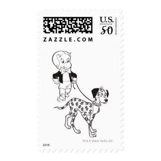 Richie Rich Walks Dollar the Dog - B&W Postage