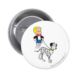 Richie Rich Walks Dollar the Dog - Color Button