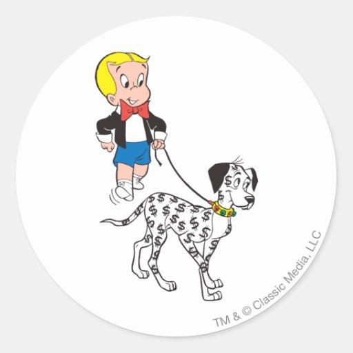 Richie Rich Walks Dollar the Dog - Color Round Stickers