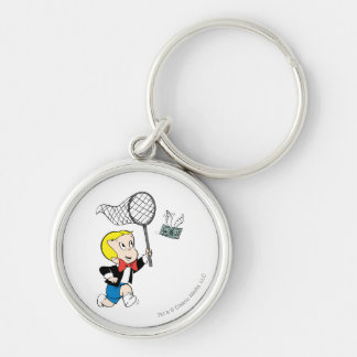 Richie Rich with Net - Color Silver-Colored Round Keychain