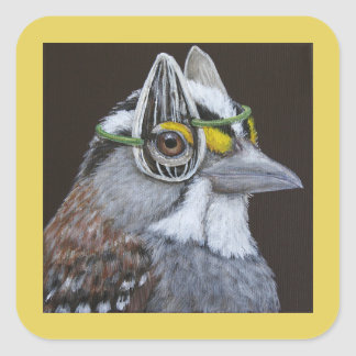 Richie the sparrow square stickers
