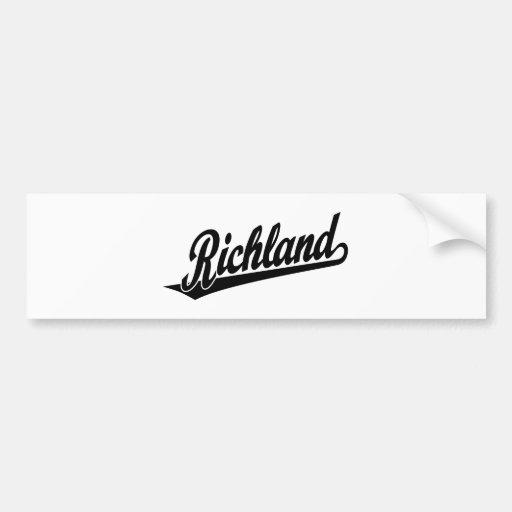 Richland script logo in black car bumper sticker