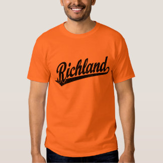 Richland script logo in black distressed tee shirt