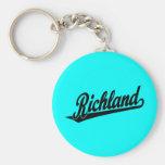 Richland script logo in black key chains