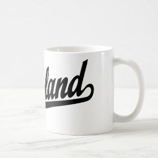 Richland script logo in black classic white coffee mug
