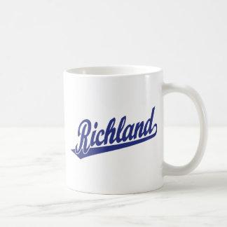 Richland script logo in blue classic white coffee mug