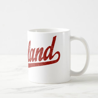 Richland script logo in red distressed classic white coffee mug