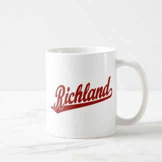 Richland script logo in red classic white coffee mug