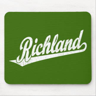 Richland script logo in white distressed mouse pad