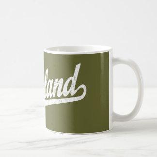 Richland script logo in white distressed classic white coffee mug