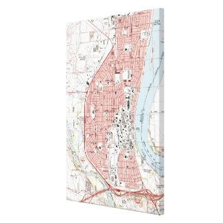 Richland Washington Map (1992) Canvas Print
